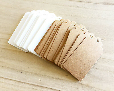 50 pcs Scallop Blank Tags Brown Kraft White Party Supplies Favor Swing Card Gift
