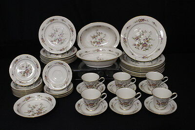 37pc Set Vintage Noritake ASIAN SONG #7151 Ivory Porcelain China for 8, Japan