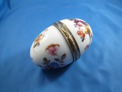 Antique Porcelain Hand Painted Egg Box, French, Sterling Rim