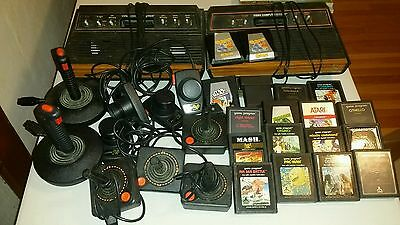 Atari 2600 Lot, 2 consoles, 18 games, multiple controllers Untested