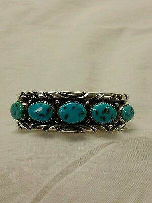Stunning Childs Navajo Turquoise Sterling Silver Bracelet