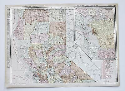 1913 Northern California Railroad Map Commercial Steamship Routes Large Original