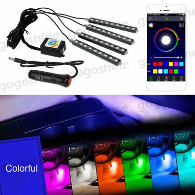 4x LED 5050 RGB Interior Light Neon Strip Lamp Kit Music Wireless Phone Control