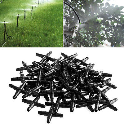 50X Irrigation Cross Connector For 4/7mm Hose Garden Hydroponics Watering