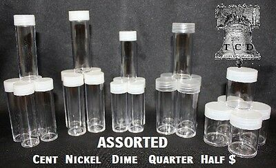 50 Assorted Coin Holder Tube Round BCW Plastic Dime to Half Dollar Tubes Storage