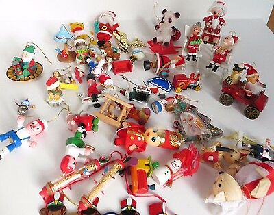 Vintage Lot of Christmas Tree Ornaments Most are made of Wood