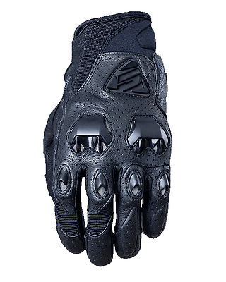 Five Stunt Evo Leather Air Summer Vented Perforated Short Cuff Motorcycle Gloves