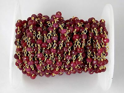 5 Feet Dyed Ruby Gemstone Faceted Rosary Beaded Chain 24k Gold Plated 3.5-4mm