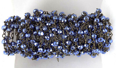 10 Feet Tanzanite Pyrite Rosary Faceted Gemstone Beaded Chain Black Wire 3-4mm