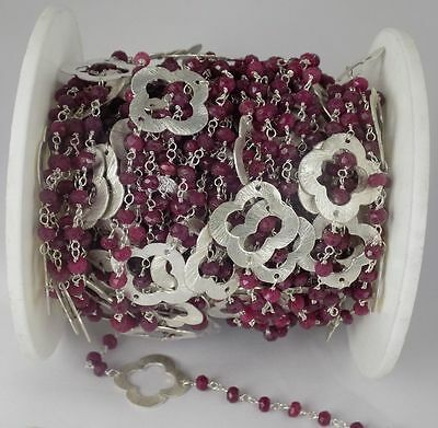 5 Feet Dyed Ruby Gemstone Faceted Rosary Beaded Chain 925 Silver Plated 3-3.5mm