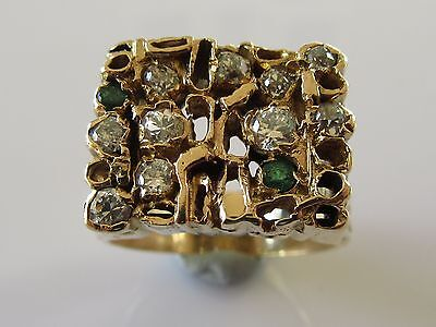 Secondhand Large 9Ct Yellow Gold Emerald Multi Diamond Cluster Ring Size W.