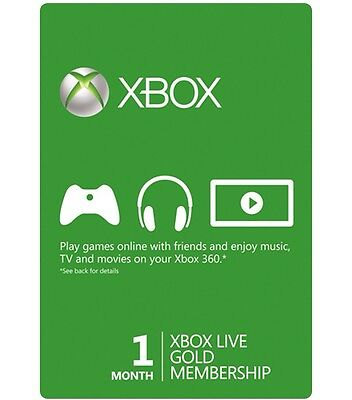Instant Xbox Live 1 Month Gold Trial 4 Weeks Membership Microsoft Xbox 360 One