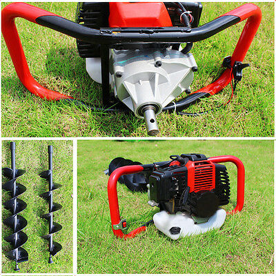 52cc Petrol Earth Auger Fence Post Hole Borer Ground Drill 3 Bits 100mm 150mm UK