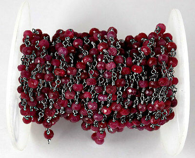 5 Feet Dyed Ruby Gemstone Faceted Rosary Beaded Black Oxidised Plated Chain
