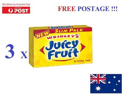Wrigley's JUICY FRUIT   Chewing Gum - 3 Packs Bulk Lollies