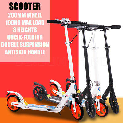 Push Scooter Commuter 200MM Big Wheel Dual Suspension Adult Child Kids Foldable
