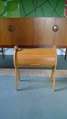 Vintage Sewing Box /Craft/Storage/Hobby Roll-top 50s 60s Mid-century