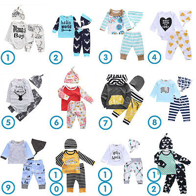 Newborn Toddler Baby Boy Girls Outfit Clothes T-shirt Hat Tops + Pants 3PCS Set