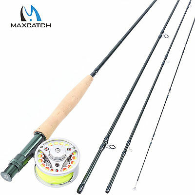 "4WT Fly Rod Combo 8'6"" Medium-fast Carbon Fly Fishing Rod & Aluminum Reel & Line"