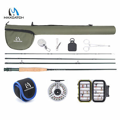 5WT 9FT Fly Rod Combo & Reel & Line & Box & Flies &Accesories Fly Fishing Outfit