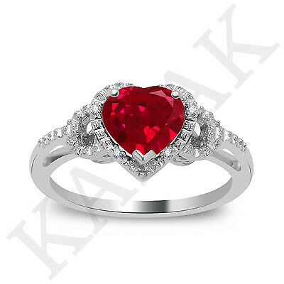 1.04 Ct Heart Shape Ruby & Natural Diamond Engagement Ring in 14k White Gold