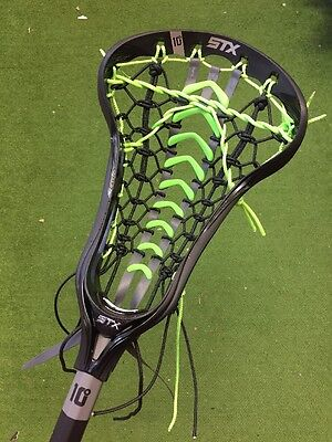 New STX Crux i Women's Lacrosse Stick -Black With Neon Green Launch Pocket