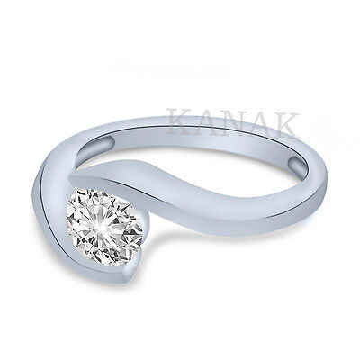 1 Ct Bypass Tension Cz Engagement Wedding Ring Setting In Solid 14k White Gold