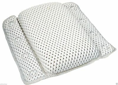Strong grip non slip bath pillow cushion white comfort cushioned bath pilllow
