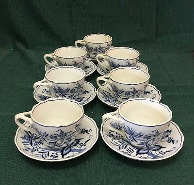 """(7) Beautiful Blue Danube """"blue Onion"""" Cups And Saucers"""