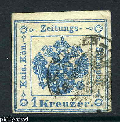 Austria 1858 Journal stamp 1k blue imperf small shield used SG J30a [m288
