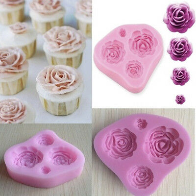 3D Rose Flower Fondant Cake Chocolate Mold Silicone Mould Modelling Decorating