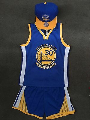 Kids Basketball Jersey Top Short Set Golden State # 30 Curry + cap two color