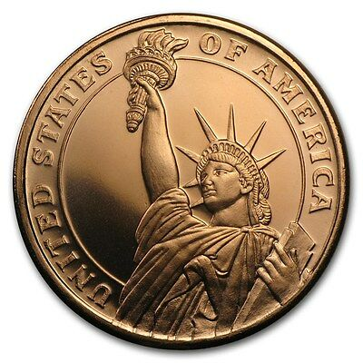 1 Oz Copper Round Statue of Liberty 999,99