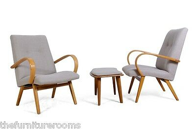 Pair of Mid Century Lounge Chairs and Stool by Jindrich Halabala. c1950