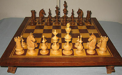 Gernany Chess Pieces and a Small Table with Two Drawers