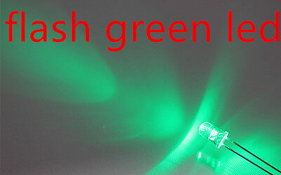 100x a0710 flash 5mm green leds, automatically flashing green leds
