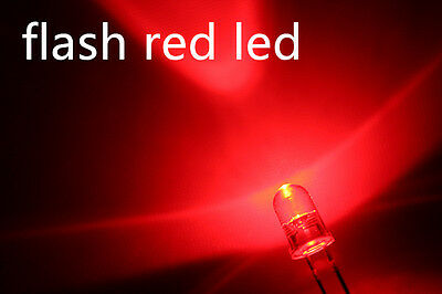 100x a0703 flash 3mm red leds, automatically flashing red leds