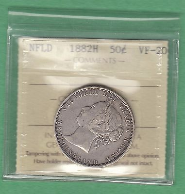 1882-H Newfoundland 50 Cents Coin - VF-20 - ICCS Graded