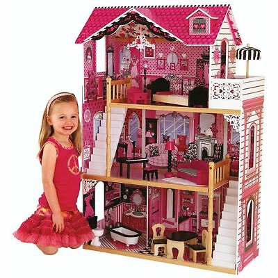 """Kidcraft- Amelia's Wooden Doll House Miniature Furniture Play Set Gift Girls 12"""""""