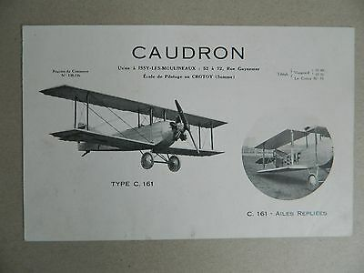 Aéronautique CAUDRON plaquette AVION type C. 161 Catalogue brochure 1928