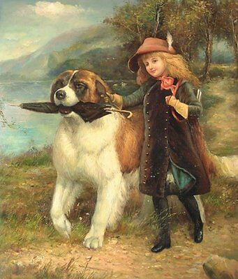 """24""""x20"""" Oil Painting on Canvas, Young Girl with her Dog"""