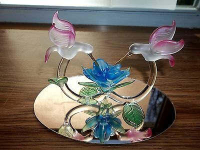 Blown Art Glass Frosted Double Hummingbird Figurine On Mirror New In Box