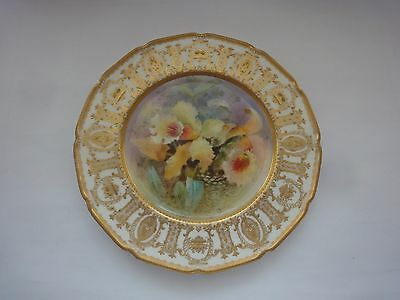 STUNNING Hand Painted R. DOULTON ORCHIDS plate, signed C.HART