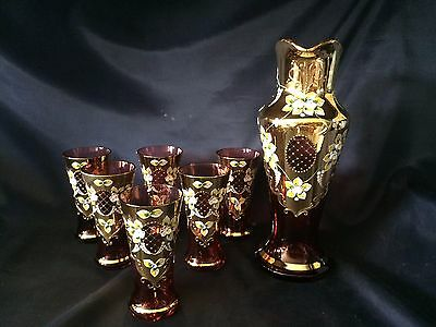 Beautiful Vintage Bohemian Cut Rubin Egermann Glass Crystal Set