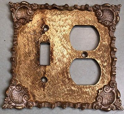 Florenta Of California Vintage Ornate Switch Outlet Combo Brass Switchplate