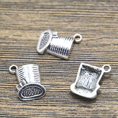 10pcs mad hat Charms Antiqued Silver alice mad hat charm pendants 19x15mm