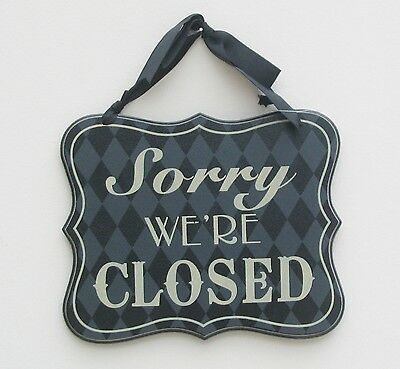 Come In We're Open  / Sorry We're Closed Reversible Wood Shop Sign Black & Cream