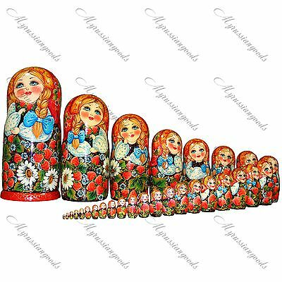 Traditional large Russian doll gift Matryoshka babushka doll set handpainted ART