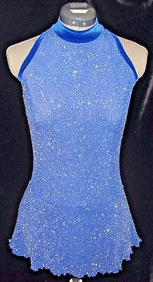 ROYAL BLUE and SILVER SPARKLE Ice Skating Dress / LADIES ADULT SMALL