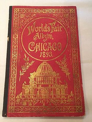 Rare 1893 Worlds Fair Columbian Exposition Hardbound Photo Book-Unusual Format